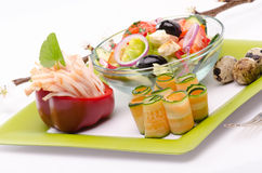 Arrangement with fresh salad in a bowl Stock Images