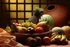 Arrangement of fruits. Studio shot of variety of fruits Royalty Free Stock Images