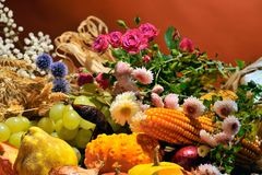 Arrangement with fruits and vegetables Royalty Free Stock Photography