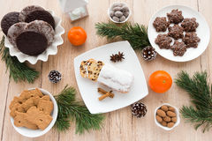 Arrangement of Gingerbread, Spiced Biscuits and Christstollen Royalty Free Stock Photos