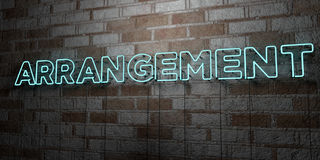 ARRANGEMENT - Glowing Neon Sign on stonework wall - 3D rendered royalty free stock illustration. Can be used for online banner ads and direct mailers Royalty Free Stock Photo