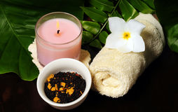 An arrangement of items for a spa Royalty Free Stock Image