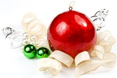 Arrangement with large Christmas ball Royalty Free Stock Photo