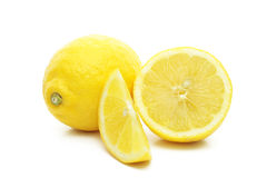 Arrangement of lemons on a white background. Stock Photos