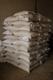 Arrangement with lots of fertilizer sacks. Stock Photography