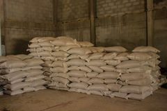 Arrangement with lots of fertilizer sacks. Royalty Free Stock Image