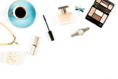 Arrangement of luxury woman things on white background, copy space Stock Photo
