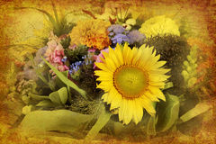 Arrangement of mixed flowers in retro style Stock Images