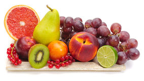 Arrangement of mixed fruits stock images