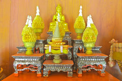 Arrangement of offerings in Buddhism's faith Stock Photos