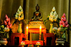 Arrangement of offerings in Buddhism`s faith. Stock Image