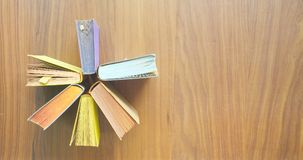 Arrangement of old books, copy space stock images