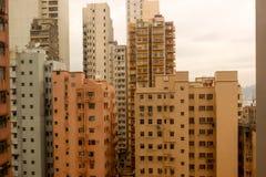 Arrangement orange building Rooftops of the buildings in hong ko Royalty Free Stock Photos