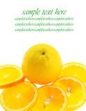 Arrangement orange pieces. Arrangement of pieces orange fruit on white background Stock Image