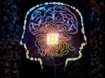 Emergence of Artificial Intelligence. Arrangement of outlines of human head, technological and fractal elements on the subject of artificial intelligence