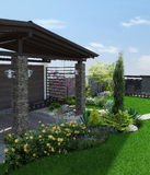 Arrangement patio living space, 3d render. Natural character of the site into the design. Example of patio arrangement Royalty Free Stock Images