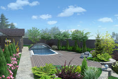 Arrangement patio living space, 3D render. Place for get togethers integrated into the natural environment Stock Photo