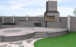 Arrangement patio living space, 3d rendering Royalty Free Stock Image