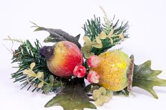 Arrangement of pears, apples, and pine branches. Stock Photos