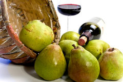 Arrangement of pears with wine Royalty Free Stock Image