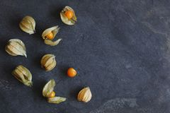 Arrangement of physalis fruit, Cape Gooseberries, on natural slate stock photography