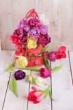 Arrangement of pink tulips Royalty Free Stock Images