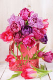 Arrangement of pink tulips Royalty Free Stock Photo