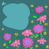 Arrangement of pink wildflowers on a blue background. Arrangement of wildflowers on a blue  background with a butterfly Stock Photography