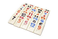 Arrangement of Plastic Number Pieces Royalty Free Stock Photography