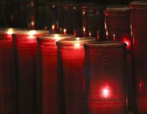 An Arrangement of Prayer Candles in a Church Royalty Free Stock Photography
