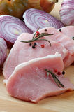 Arrangement of Raw Pork Loin Chops Royalty Free Stock Photography