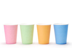Arrangement of recycling colorful paper glass. Arrangement of four recycling  glass Stock Images