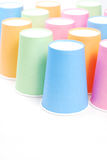 Arrangement of recycling colorful paper glass. Row of recycling paper glass Stock Image
