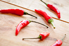Arrangement of red  chilipeppers Stock Image