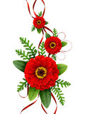 Arrangement with red zinnia flowers and silk ribbons Royalty Free Stock Photography