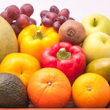Arrangement ripe fruits and vegetables Stock Photo