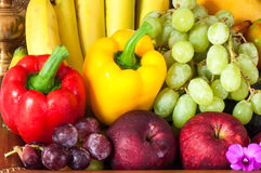 Arrangement ripe fruits and vegetables Royalty Free Stock Image