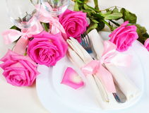 Arrangement for Romantic Dinner Close Royalty Free Stock Images
