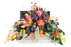 Arrangement of roses, lilies, freesia and irises Stock Photo