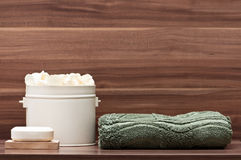 Arrangement of soap, towel and blossoms Stock Photo
