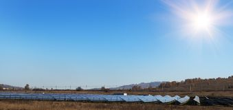 Arrangement of solar energy production plant. royalty free stock images
