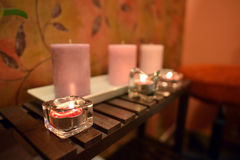 Arrangement for spa with candle lights royalty free stock images