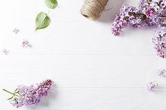 An arrangement of spring lilac flowers on white wooden background. Top view. Horizontal. Copy space Royalty Free Stock Photo