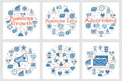 Business banners with icons in square set. Arrangement of square banners with blue round sets of icons for business and advertising concept in blue color Royalty Free Stock Photos