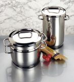 Arrangement of stainless steel cookware Stock Photos