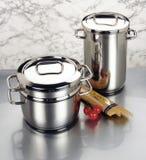Arrangement of stainless steel cookware Stock Photos