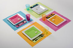 Arrangement Table set. Multicolor set Stock Images