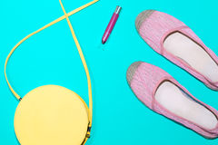Arrangement of trendy summer essentials in pastel colors Royalty Free Stock Images
