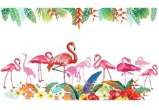 Arrangement from tropical flowers and Flamingoes. Arrangement from tropical flowers, leaves and Flamingoes vector illustration