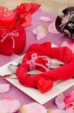 Arrangement for a Valentines dinner stock photo